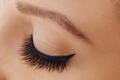 Female eye with extreme long false eyelashes and black liner. Eyelash extensions, make-up, cosmetics, beauty royalty free stock photography