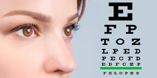 Female eye and eyesight vision exam chart. Close up image of an eye and vision test chart royalty free stock image