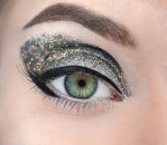 Female eye with fancy glitter makeup closeup. Female eye with fancy glitter makeup, closeup stock image