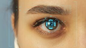 A female eye with a futuristic vision system. Reading data, Hud user Interface elements