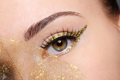 Female eye with a golden arrow make-up. Macro shot of beauty  female eye with golden eyeliner make-up covered artificial yellow  leaf Royalty Free Stock Photo