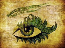 Spring eye with leaves Royalty Free Stock Photo