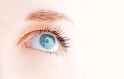 Female eye with long eyelashes Stock Photo