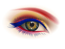 Female eye makeup. Creative, holiday eye makeup. Cosmetics Vector image Royalty Free Stock Images