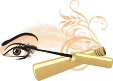 Female eye, mascara and decorative ornament Stock Photo
