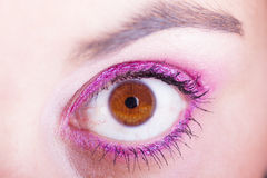 Female eye. With pink beauty fashion make-up Stock Photo