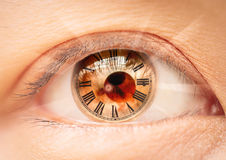 Female eye roman numerals  bio clock. Stock Photo