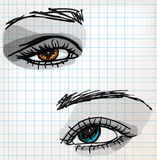 Female eye sketch illustration Royalty Free Stock Images