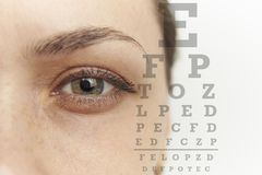 Female eye and table to check eyesight. Close-up Stock Photography