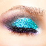 Female eye zone makeup. Close-up shot of young beautiful woman's eye zone make-up Royalty Free Stock Images