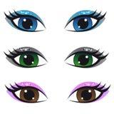 Female eyes. Colored set of Female eyes Royalty Free Stock Photos