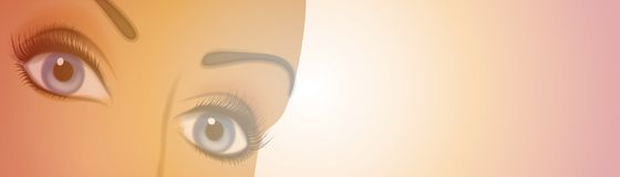 Female Eyes Banner or Logo. An illustration of female eyes set within gradient soft colors for use as a banner or logo Royalty Free Stock Photos