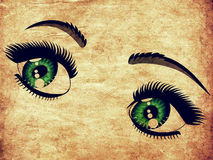 Grunge emerald eyes Stock Image