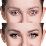 Female eyes before and after eyelash extension. Comparison of female eyes before and after makeup and eyelash extension royalty free stock photo
