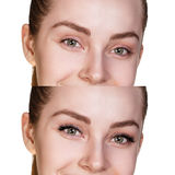 Female eyes before and after eyelash extension Stock Photography
