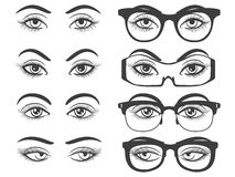 Female eyes and eyes with glasses Stock Photography