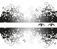 Female eyes. And floral frame Stock Photography