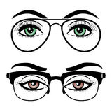 Female eyes with glasses Royalty Free Stock Images