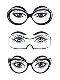 Female eyes with glasses set Royalty Free Stock Photo