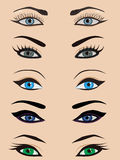 Female eyes set. Set of five pairs of illustrated women's eyes against skin tone colored background. They can be used as icons or as female illustration Stock Photography