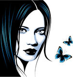 Female face. Beautiful gothic girl with butterflies Stock Photography