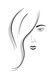 Female face. Abstract vector picture of face of beautiful girl royalty free illustration