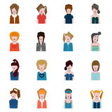 Female face avatars, flat style Royalty Free Stock Photography