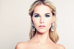 Female Face. Beautiful Fashion Model Woman Royalty Free Stock Photos