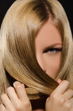 Female face and beautiful straight hair Stock Images