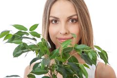Female face behind grin foliage plant Royalty Free Stock Images