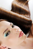 Female face with bright make-up and health hair stock photo