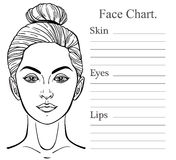 Female Face chart make up artist blank. Stock Photos