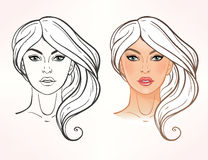 Female face chart Makeup Artist Blank. Royalty Free Stock Image