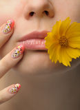 Female face close and nail art Royalty Free Stock Photos