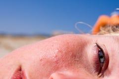 Female face closeup Stock Images