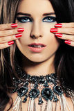 Female Face Closeup. Makeup, Manicure Nails, Jewelry Necklace Stock Photography