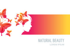 Female face on colorful background. Woman with butterflies in hair. Stock Photo