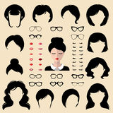 Female face creator. Vector set of dress up designer with different woman haircuts, glasses, lips etc in flat style. Female icon constructor, face creator. Big royalty free illustration