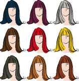Female face with different hair color. Royalty Free Stock Image