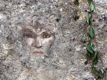 Female face embedded in wall. Mental well being concept,metaphor Royalty Free Stock Photos