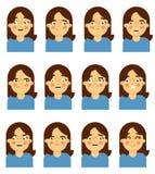 Female face emotional icon on white background Stock Photo