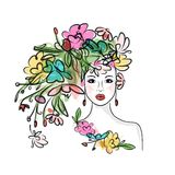 Female face with floral hairstyle for your design Stock Photos