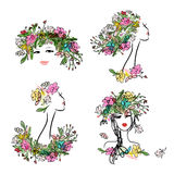 Female face with floral hairstyle for your design Stock Photo