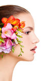 Female Face with Flower Isolated on White. Profile Stock Photography