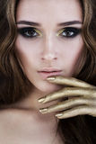 Female Face. Glamorous Woman with Makeup Royalty Free Stock Images