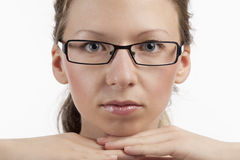 Female face with glasses Stock Photo