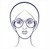 Female face with glasses stock illustration