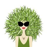 Female face with green grass hairstyle for your Royalty Free Stock Photos