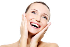 Female face with a healthy white teeth Royalty Free Stock Image