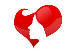 Female face in a heart Royalty Free Stock Photo